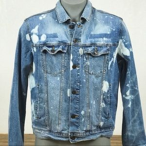 Custom Bleached Men's Denim Jacket Sz L Goodfellow